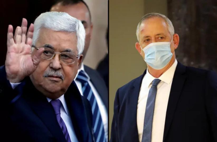 Palestinian Authority President Mahmoud Abbas and Israeli Defense Minister Benny Gantz (credit: ALEX KOLOMOISKY / POOL, MOHAMAD TOROKMAN/REUTERS)