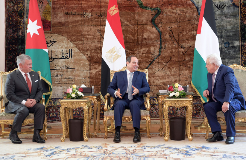Egyptian President Abdel Fattah al-Sisi (C) talks with Palestinian President Mahmoud Abbas (R) and Jordan's King Abdullah II before a meeting ahead of the UN general assembly at the Ittihadiya presidential palace in Cairo, Egypt, September 2, 2021 (credit: REUTERS)