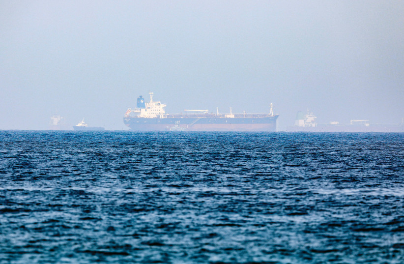 MERCER STREET, an Israeli-managed oil tanker that was attacked, is seen off Fujairah Port in United Arab Emirates, last month (credit: Rula Rouhana/Reuters)
