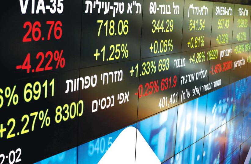 MARKET DATA at the Tel Aviv Stock Exchange.  (credit: AMIR COHEN/REUTERS)