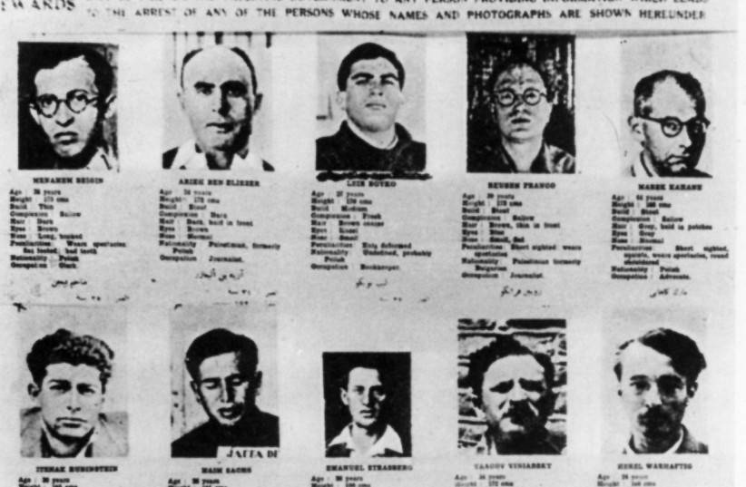 PALESTINE POLICE Force wanted  poster of Irgun and Lehi members.  Menachem Begin appears at the top  left. (photo credit: Wikimedia Commons)
