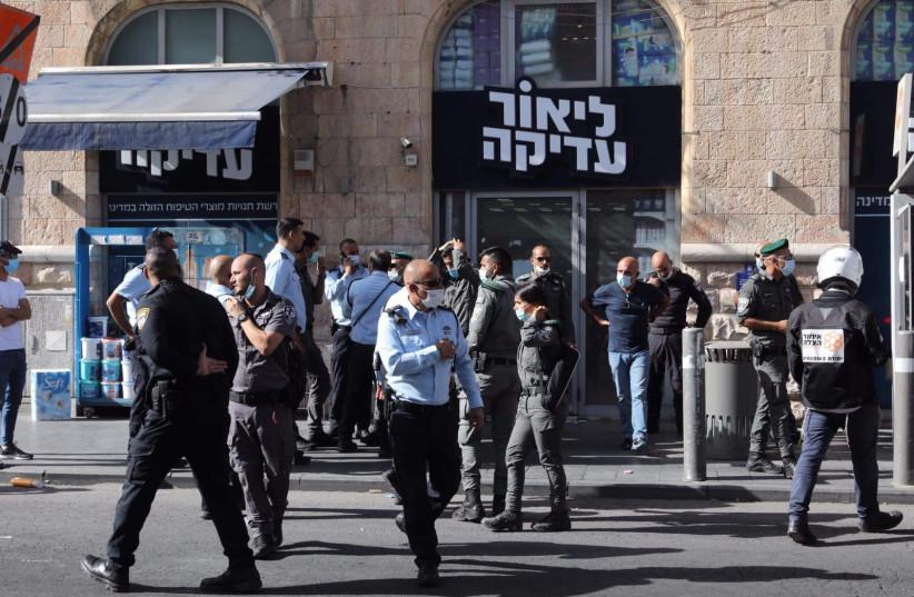 Israeli Police Officers following the terrorist attack in central Jerusalem on September 13, 2021. (Credit: MARC ISRAEL SELLEM)