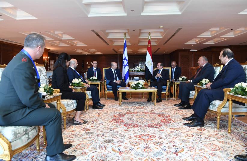 The Egypt-Israel meeting, led by Prime Minister Naftali Bennett and Egyptian president Abdel Fattah al-Sisi on September 13, 2021. (credit: KOBI GIDEON/GPO)