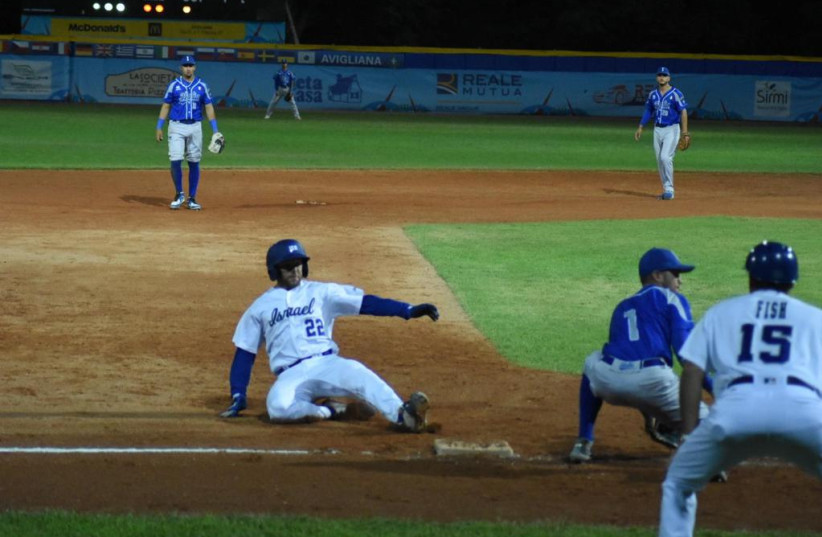 Mitch Glasser, who leads Team Israel with a .500  Batting Average, had 2 doubles and 4 RBIs  (credit: ISRAEL ASSOCIATION OF BASEBALL/ COURTESY)