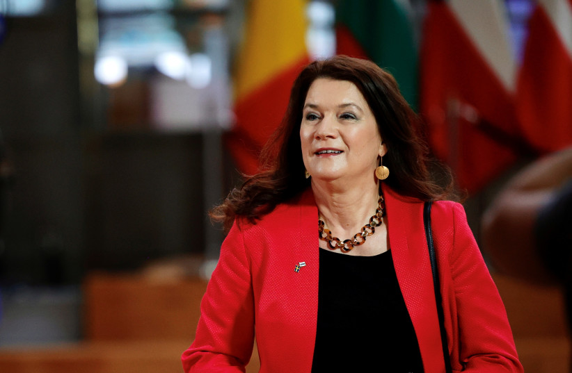 Sweden's Foreign Minister Ann Linde arrives for the EU foreign ministers meeting at the European Council building in Brussels, Belgium May 10, 2021. (credit: Olivier Matthys/Pool via REUTERS)