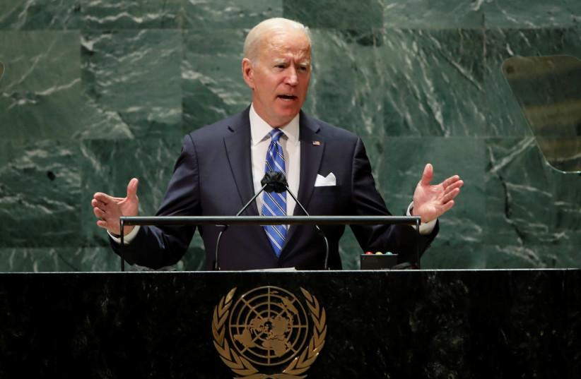 Le président américain Joe Biden s'adresse à la 76e session de l'Assemblée générale des Nations Unies à New York (crédit: REUTERS/EDUARDO MUNOZ/POOL)