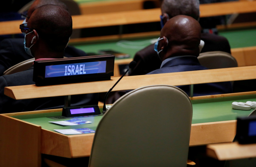 The seats reserved for Israel's delegation sit empty as US President Joe Biden speaks about Israel and Palestinians during the 76th Session of the UN General Assembly in New York City, US, September 21, 2021. (credit: REUTERS/EDUARDO MUNOZ/POOL)