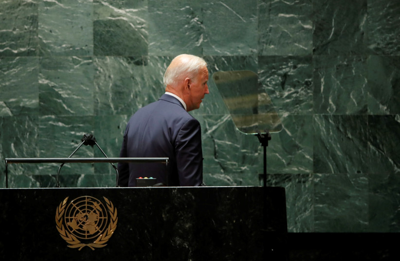 US President Joe Biden departs after concluding his address to the 76th Session of the UN General Assembly in New York City, US, September 21, 2021. (credit: REUTERS/EDUARDO MUNOZ/POOL)