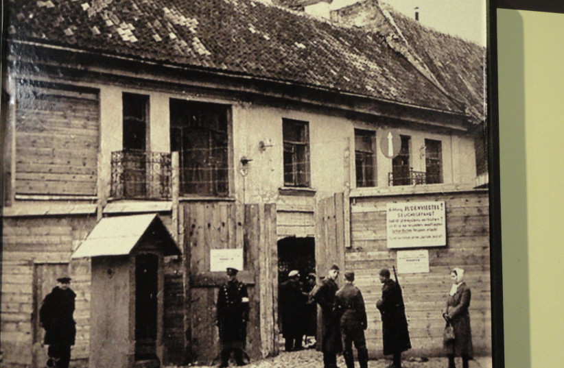 The main entrance to the Vilnius Ghetto in Lithuania during World War II. (photo credit: Wikimedia Commons)