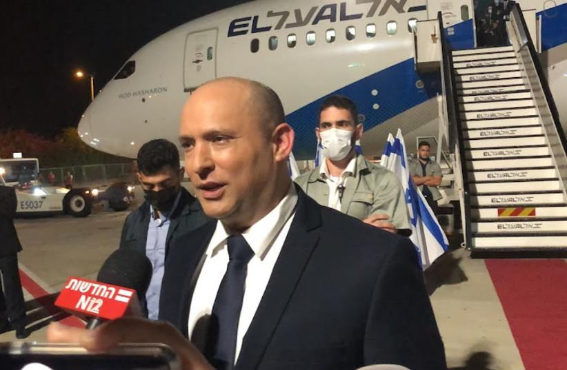 Prime Minister Naftali Bennett speaks to press before departing to UNGA in New York (credit: Lahav Harkov)
