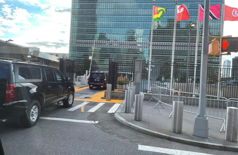 The Prime Minister's convoy arrives at the UN ahead of his speech, September 27, 2021 (credit: Courtesy)