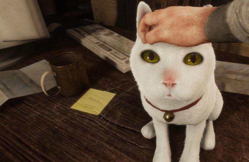 Se ve al protagonista Desmond Wells acariciando a la gata Tonya en el videojuego de fabricación israelí