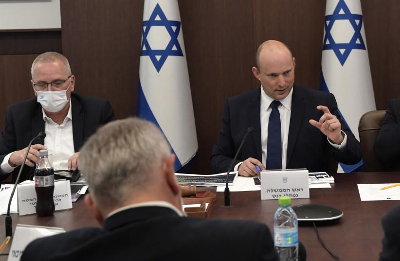 Prime Minister Naftali Bennett at the coronavirus cabinet meeting, October 3, 2021. (credit: KOBI GIDEON/GPO)