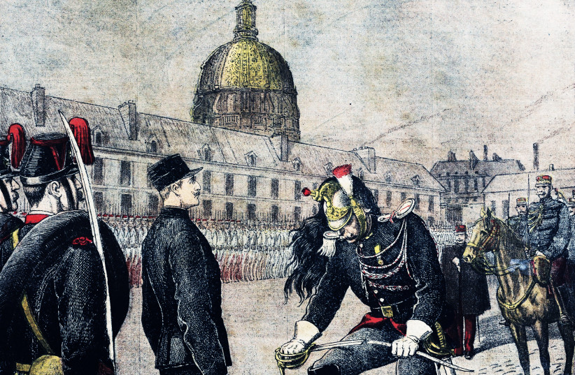 """""""The traitor: Degradation of Alfred Dreyfus, degradation in the Morland Court of the military school in Paris"""" (photo credit: Henri Meyer/Bibliothèque nationale de France)"""