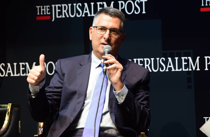 Israel's Justice Minister Gideon Sa'ar is seen speaking at the Jerusalem Post annual conference at the Museum of Tolerance in Jerusalem, on October 12, 2021. (credit: AVSHALOM SASSONI/MAARIV)