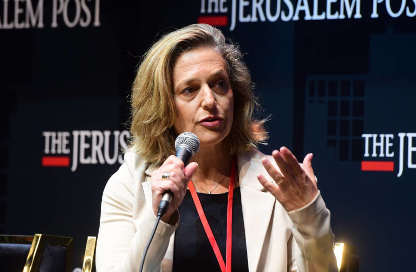 Israel's head of public health Dr. Sharon Alroy-Preis is seen speaking at the Jerusalem Post annual conference at the Museum of Tolerance in Jerusalem, on October 12, 2021. (photo credit: AVSHALOM SASSONI/MAARIV)