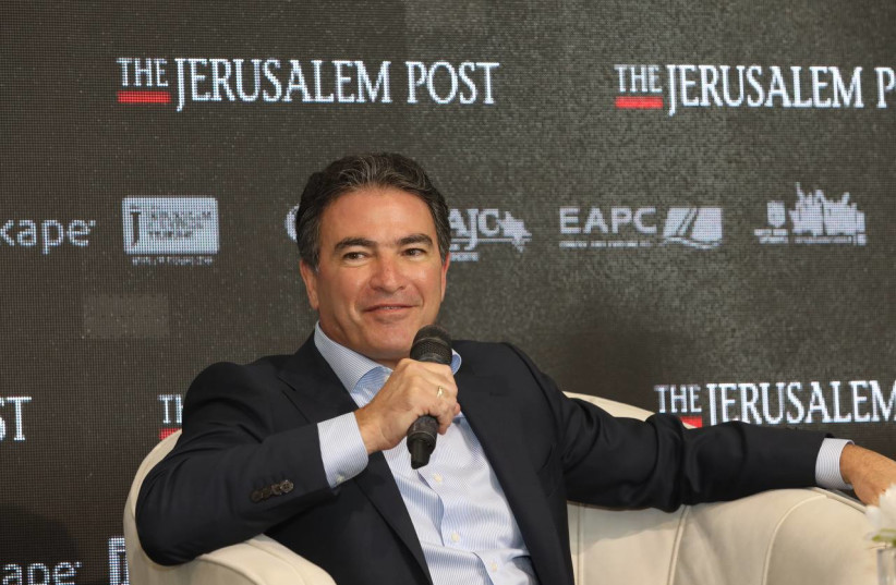 Former Mossad head Yossi Cohen is seen speaking at the Jerusalem Post annual conference at the Museum of Tolerance in Jerusalem, on October 12, 2021. (photo credit: MARC ISRAEL SELLEM/THE JERUSALEM POST)