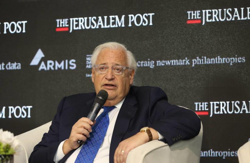 former US Ambassador to Israel David Friedman speaks at The Jerusalem Post Annual Conference, October 12, 2021 (photo credit: MARC ISRAEL SELLEM/THE JERUSALEM POST)