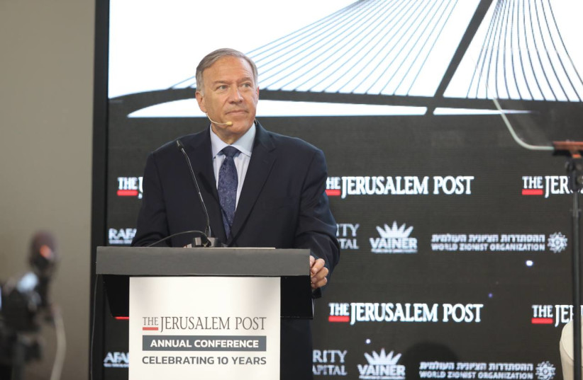 Former US secretary of state Mike Pompeo speaking at the  at the Jerusalem Post Annual Conference, October 12, 2021. (photo credit: MARC ISRAEL SELLEM)