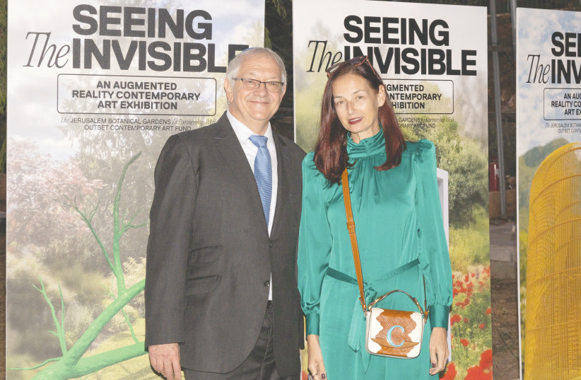 ALAN BERKLEY with Candida Gertler, founder of the Outset Contemporary Art Foundation, at the opening of the 'Seeing the Invisible' exhibition at the Jerusalem Botanical Gardens. (credit: DAVID SAAD)