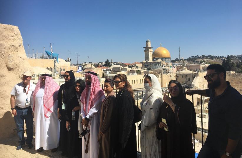 Bahraini activists on a tour of Israel.  (credit: MICHAEL STARR)
