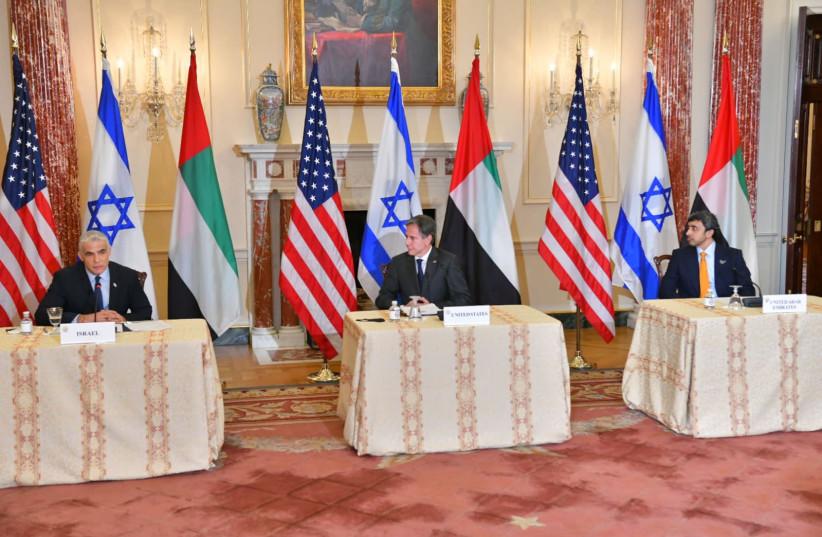 Reunião trilateral entre Blinken, Lapid e Bin Zayed (crédito: MINISTÉRIO ESTRANGEIRO)