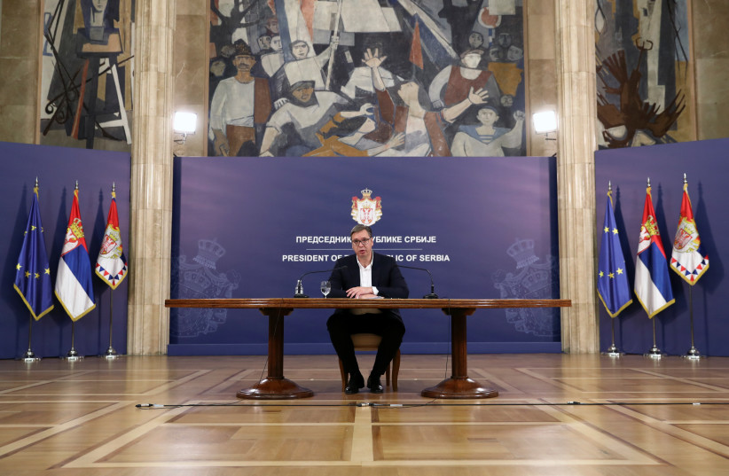 SERBIAN PRESIDENT Aleksandar Vucic addresses the nation, in Belgrade, 2020. (credit: MARKO DJURICA/REUTERS)