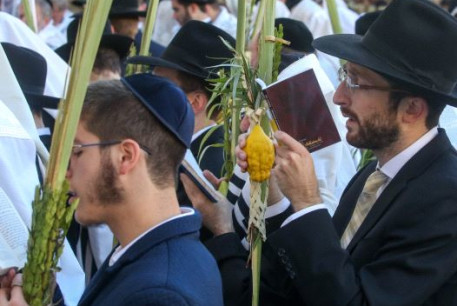 Hoshana Raba, the seventh day of Succot, at the Western Wall in Jerusalem