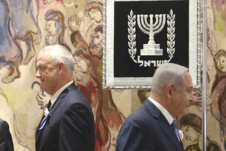 Tension was evident between Blue and White leader Benny Gantz and Prime Minister Benjamin Netanyahu at the opening of the Knesset's new session on April 30