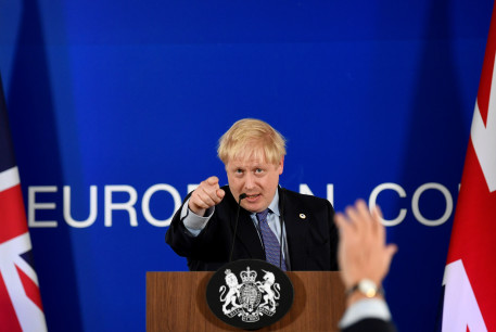 Britain's Prime Minister Boris Johnson takes questions during a news conference at the European Union leaders summit dominated by Brexit, in Brussels, Belgium October 17, 2019