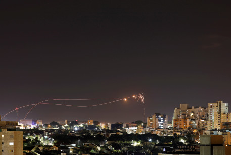 Iron Dome anti-missile system fires interception missiles as rockets are launched from Gaza towards Israel as seen from the city of Ashkelon, Israel Ashkelon November 1, 2019