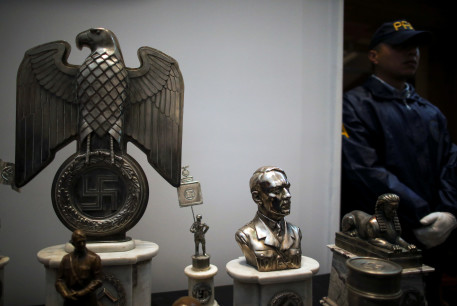 Nazi artifacts at a news conference at the Holocaust museum in Buenos Aires