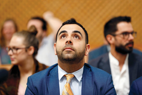 OMAR SHAKIR, Human Rights Watch Israel and Palestine director, looks up before a hearing at the Supreme Court in Jerusalem in September