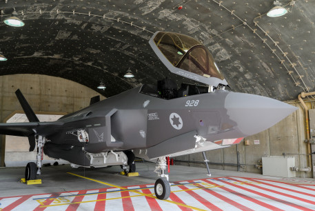 An IAF F-35 plane at the bi-annual Blue Flag drill a massive exercise with pilots from the United States, Greece, Germany and Italy