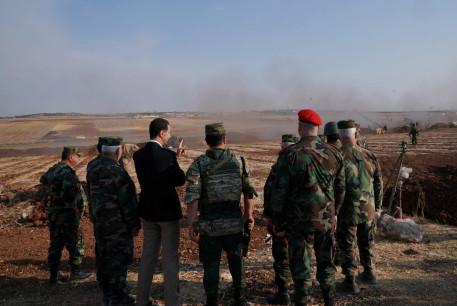 Syrian President Bashar al Assad visits Syrian army troops in war-torn northwestern Idlib province, Syria, October 22, 2019