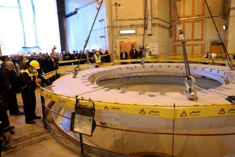 FILE PHOTO: Members of the media and officials tour the water nuclear reactor at Arak, Iran December 23, 2019. WANA (West Asia News Agency) via REUTERS
