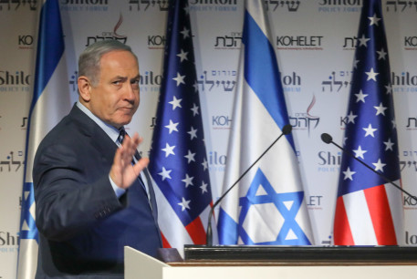 PRIME MINISTER Benjamin Netanyahu speaks during a conference in Jerusalem Wednesday. Will the US action in Iraq help his campaign?