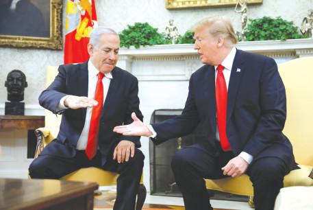US PRESIDENT Donald Trump greets Prime Minister Benjamin Netanyahu at the White House last year
