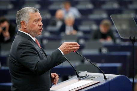 King of Jordan Abdullah II addresses the European Parliament in Strasbourg, France January 15, 2020.