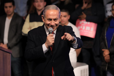 Prime Minister Benjamin Netanyahu addresses supporters at a Likud Party event, February 5, 2020