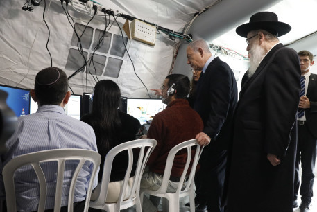 Prime Minister Benjamin Netanyahu and Health Minister Ya'acov Litzman visit Sheba Medical Center at Tel Hashomer to review the special area where the Israelis who were aboard the Diamond Princess cruise ship will be kept in quarantine