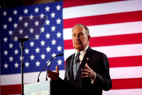 FILE PHOTO: Democratic presidential candidate Michael Bloomberg speaks during a campaign event at the Bessie Smith Cultural Center in Chattanooga, Tennessee, U.S. February 12, 2020