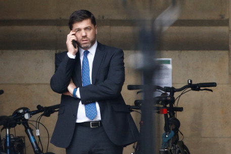 British Conservative MP Stephen Crabb is seen near the Houses of Parliament in London, Britain