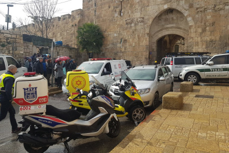 Magen David Adom on the scene of an attempted stabbing attack in Jerusalem's Old City on February 22