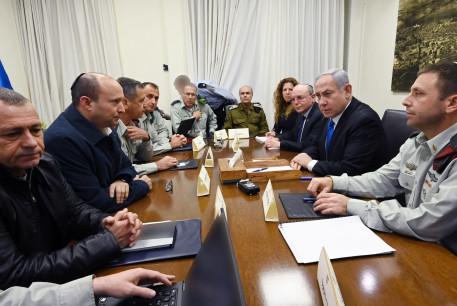 PM Benjamin Netanyahu, Defense Minister Naftali Bennett meet with security officials at Kirya after rocket fire, Feb. 23, 2020