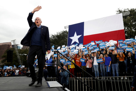Democratic U.S. presidential candidate Senator Bernie Sanders takes the stage for an outdoor campaign rally in Austin, Texas, U.S., February 23, 2020.