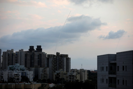 Trails are seen in the sky as Iron Dome anti-missile system intercepts rockets in Ashkelon, southern Israel February 24, 2020