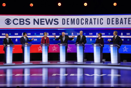Democratic 2020 U.S. presidential candidates debate in the tenth Democratic 2020 presidential debate at the Gaillard Center in Charleston