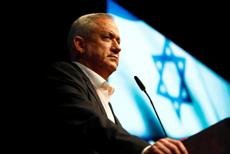 Benny Gantz, leader of Blue and White party, speaks during an election campaign rally in Ramat Gan, near Tel Aviv, Israel, February 25, 2020.