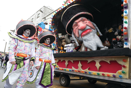 A FLOAT with an effigy of a Jew is seen during the carnival at Aalst, Belgium, on February 23.